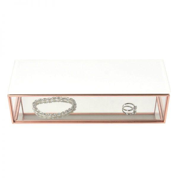 Стъклена кутия за бижута с бял капак Stackers розово злато