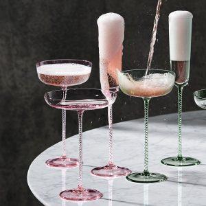 Чаша за шампанско Champagne Theatre, висока 2бр., розово