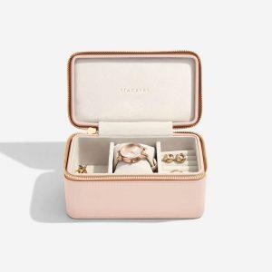 Дамски несесер-кутия за бижута с цип Stackers, розов Блъш