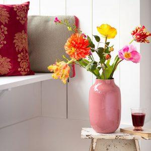 Овална метална ваза в розово Old Pink, 30 cm