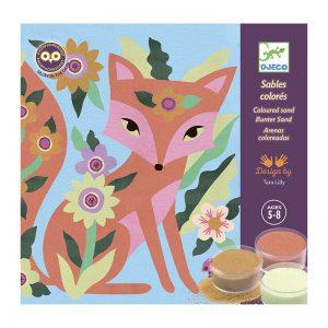 Комплект за оцветяване с цветен пясък Garden lights - Djeco