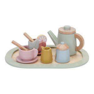 Детски комплект-играчка: дървен сервиз за чай - Little Dutch