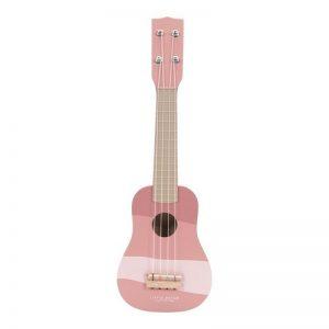 Дървена акустична китара-играчка в розов цвят - Little Dutch