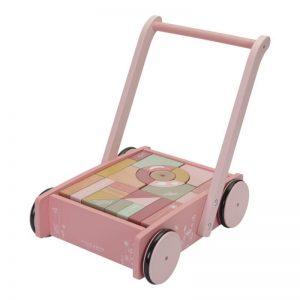 Дървена количка с 27 цветни кубчета за игра – Little Dutch